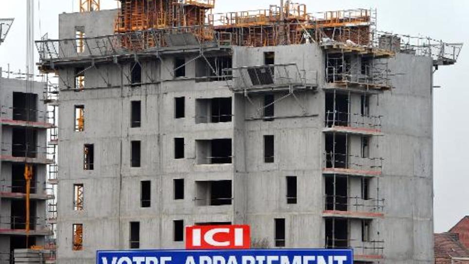 Un immeuble en construction le 30 janvier 2012 à Lille