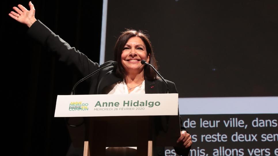 Anne Hidalgo en meeting le 26 février 2020 à l'Elysée Montmartre à Paris