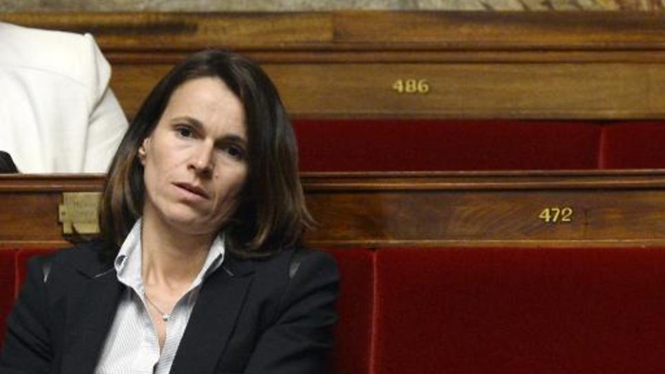 La députée socialiste Aurélie Filippetti sur les bancs de l'Assemblée nationale à Paris le 28 octobre 2014