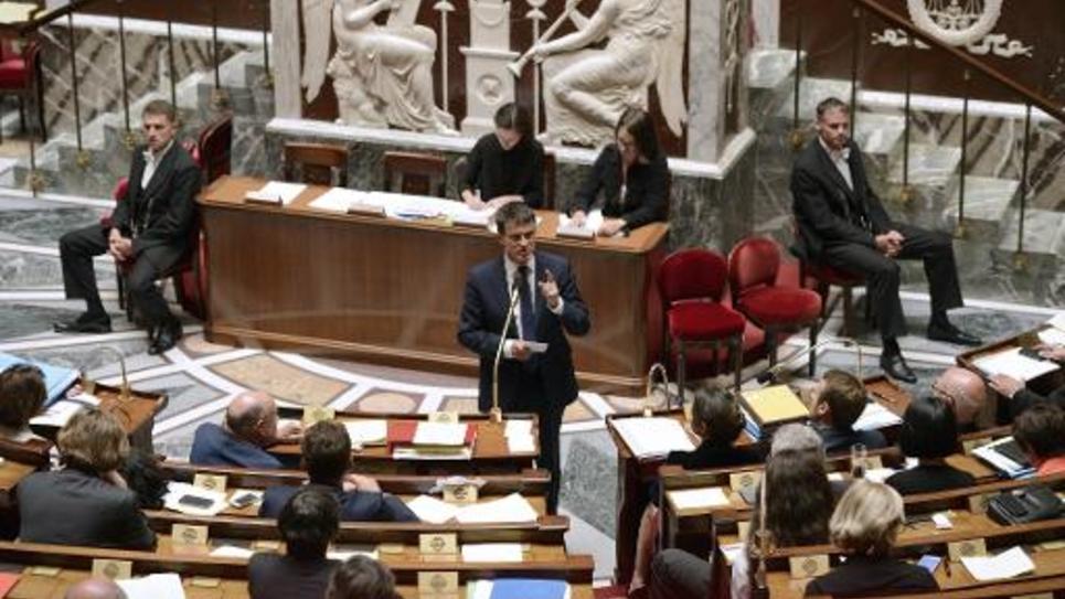 Manuel Valls à l'Assemblée nationale pour le vote de confiance le 16 septembre 2014 à Paris