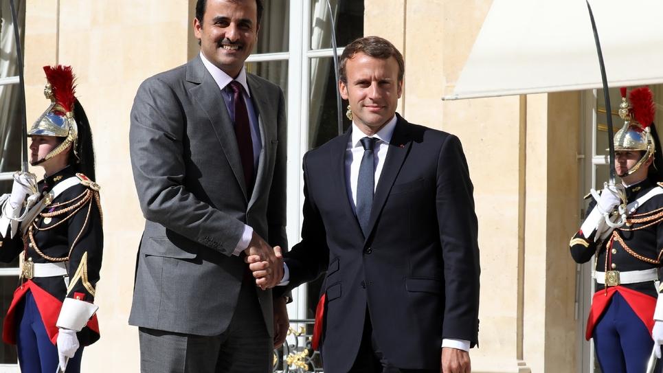 Emmanuel Macron et l'émir du Qatar, cheikh Tamim Al Thani, le 15 septembre 2017 à l'Elysée