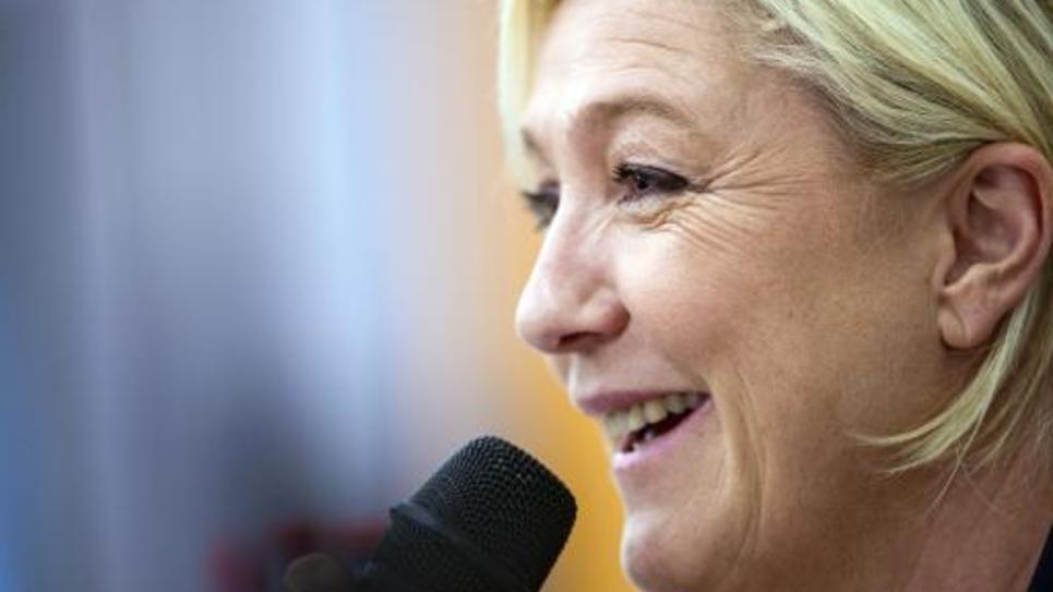 La présidente du Front national Marine Le Pen à Seloncourt (Doubs), le 23 janvier 2015