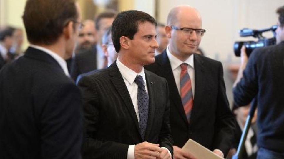 Le Premier ministre français  Manuel Valls et son homologue tchèqie Bohuslav Sobotka le 9 décembre 2014 à Prague
