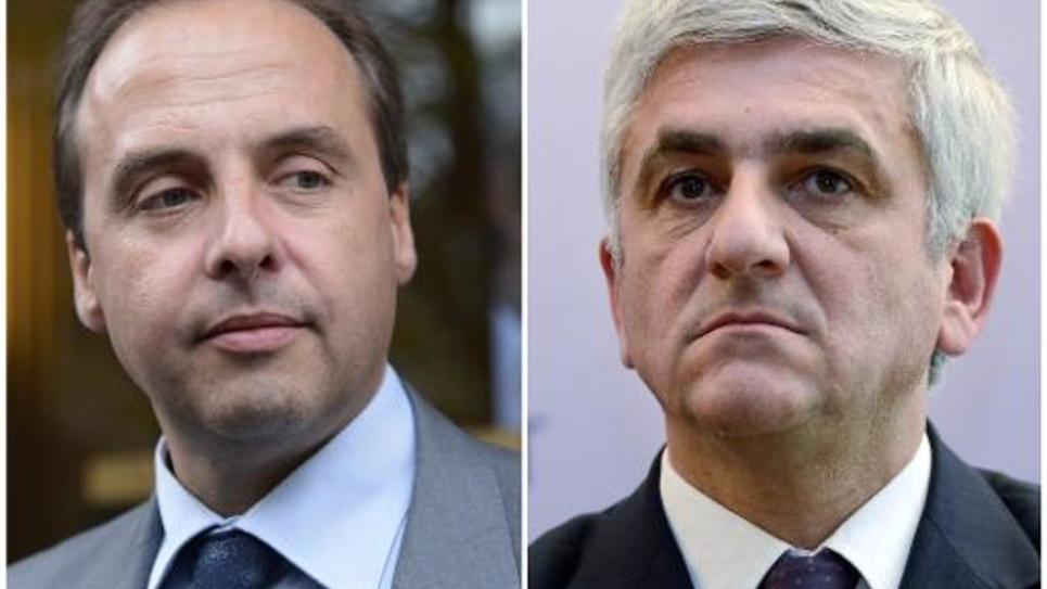 Montage de photos réalisé le 16 octobre 2014 montrant Jean-Christophe Lagarde et Hervé Morin, candidats à la présidence de l'UDI