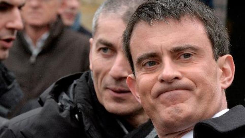 Le Premier ministre Manuel Valls en campagne à Rennes le 28 février 2015