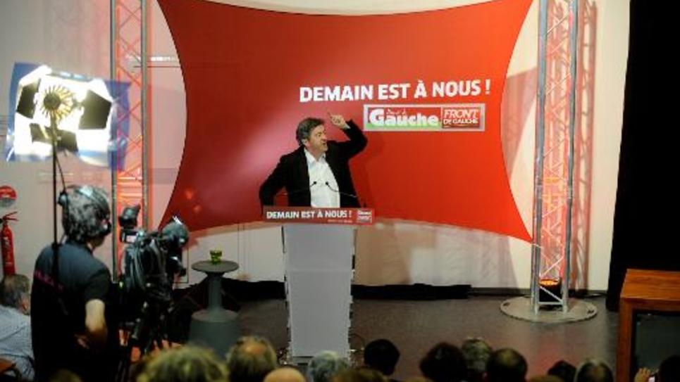 Jean-Luc Mélenchon prononce son discours de clôture à l'université d'été du Parti de gauche, le 24 août 2014, à Saint-Martin-d'Hères, près de Grenoble