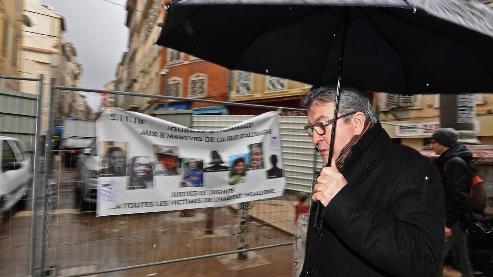 Le leader de la France insoumise, Jean-Luc Mélenchon, dans le quartier de Noailles à Marseille, le 1er février 2019