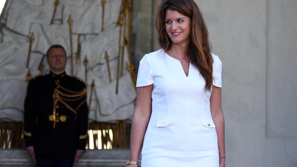 Marlène Schiappa à la sortie du conseil des ministres à Paris, le 10 octobre 2018