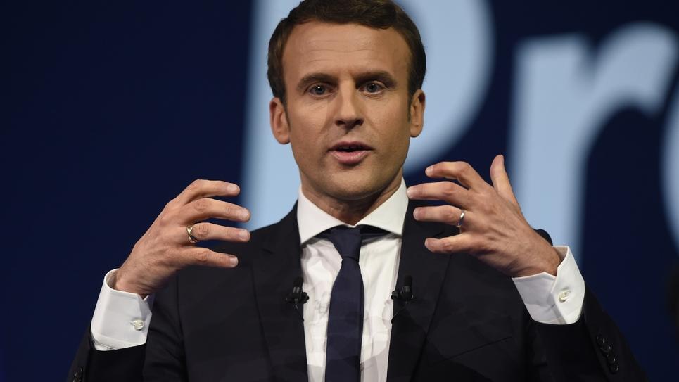 Emmanuel Macron lors d'un meeting de campagne à Nantes le 19 avril 2017