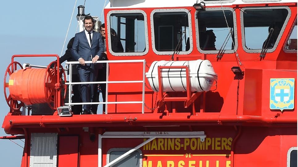 Le ministre de l'Intérieur, Christophe Castaner, venu célébrer les 80 ans du bataillon de marins-pompiers de Marseille, le 8 mars 2019