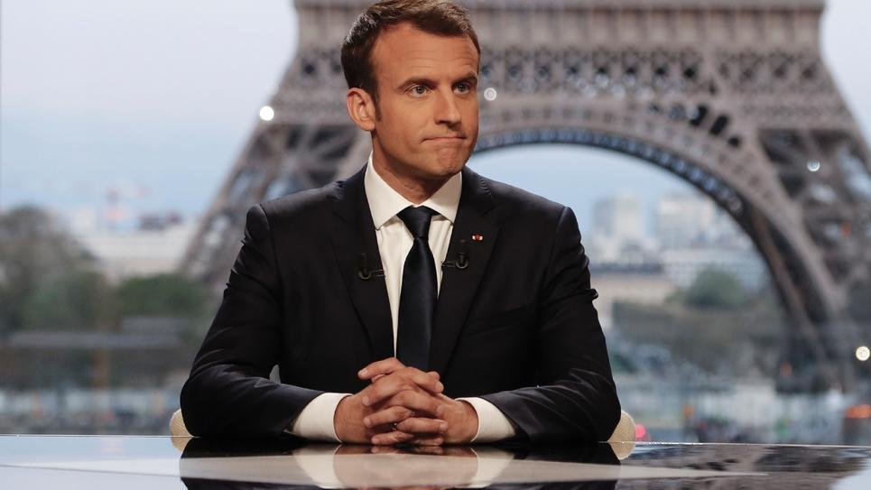 Emmanuel Macron lors de l'interview menée le 15 avril 2018 au Palais de Chaillot par Edwy Plenel et Jean-Jacques Bourdin
