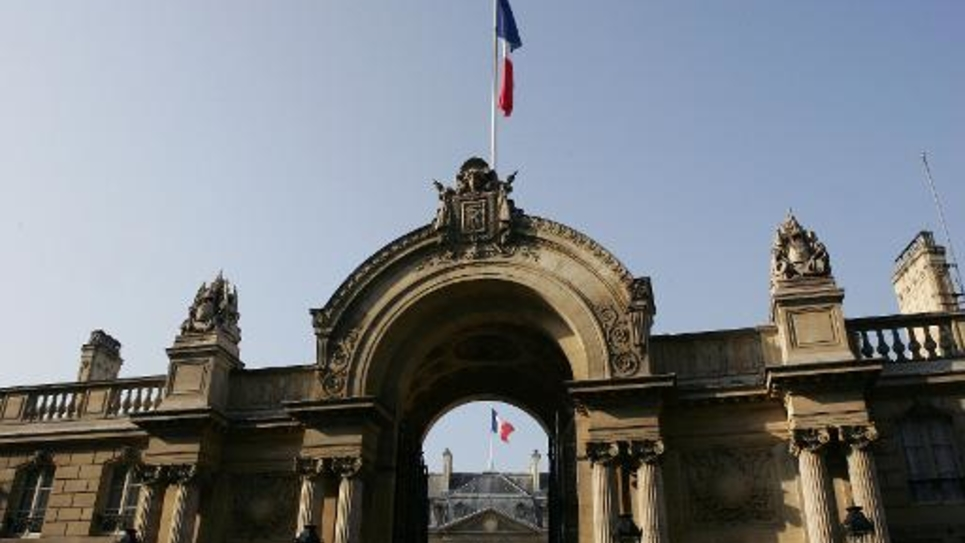 Photo prise le 11 avril 2007 à Paris de l'entrée du palais de l'Elysée