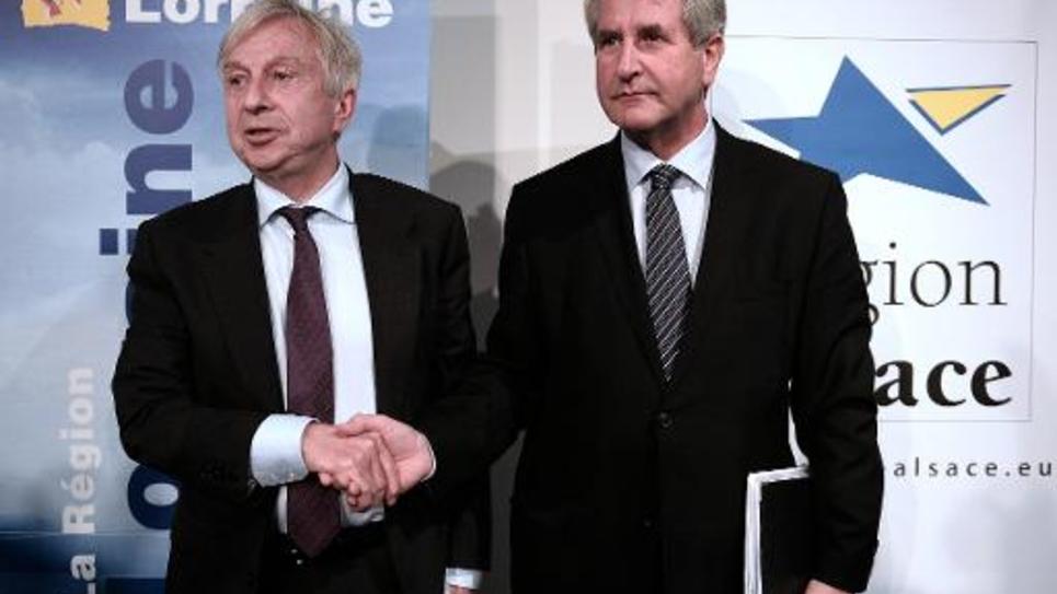 Jean-Pierre Masseret (gauche), président de la région Lorraine, et Philippe Richert, président d'Alsace, le 6 juin 2014 à Wingen-sur-Moder