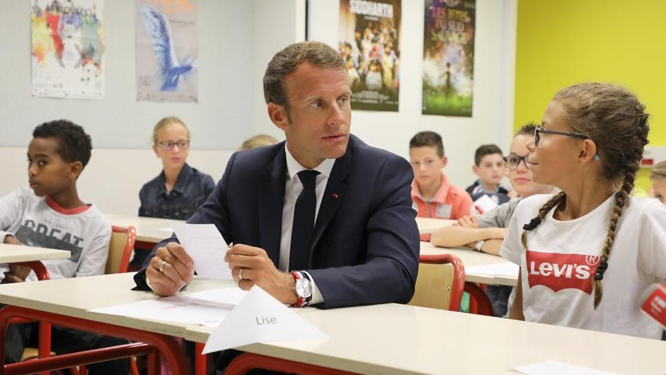 Emmanuel Macron en visite dans un collège de Laval, le 3 septembre 2018