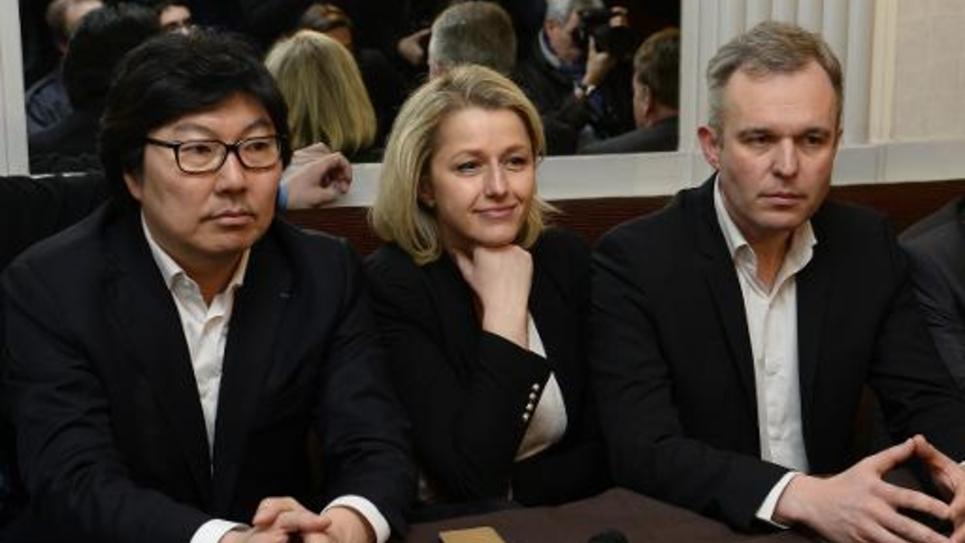 Le sénateur EELV, Jean-Vincent Placé et les deux co-présidents du groupe écologiste au Parlement, Barbara Pompili et François de Rugy, le 4 avril 2015