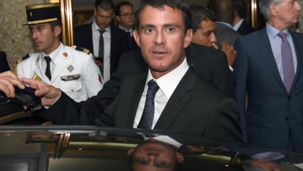 Le Premier ministre français Manuel Valls arrive à Tunis, le 7 septembre 2014