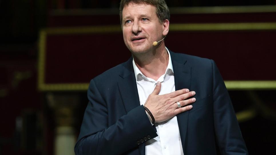 Yannick Jadot, tête de liste EELV, en meeting au cirque d'hiver à Paris, le 21 mai 2019