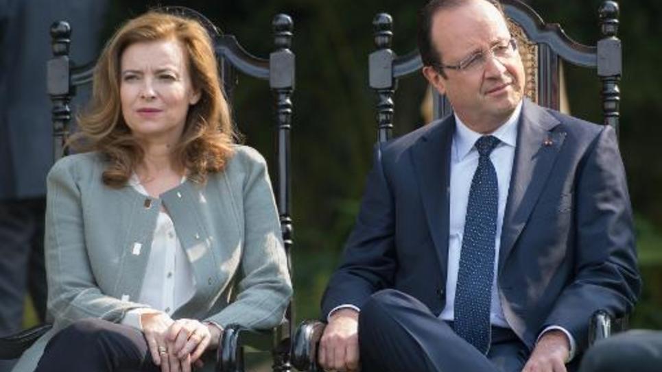 Francois Hollande et Valerie Trierweiler, lors d'une visite d'Etat à New Delhi, le 15 février 2013