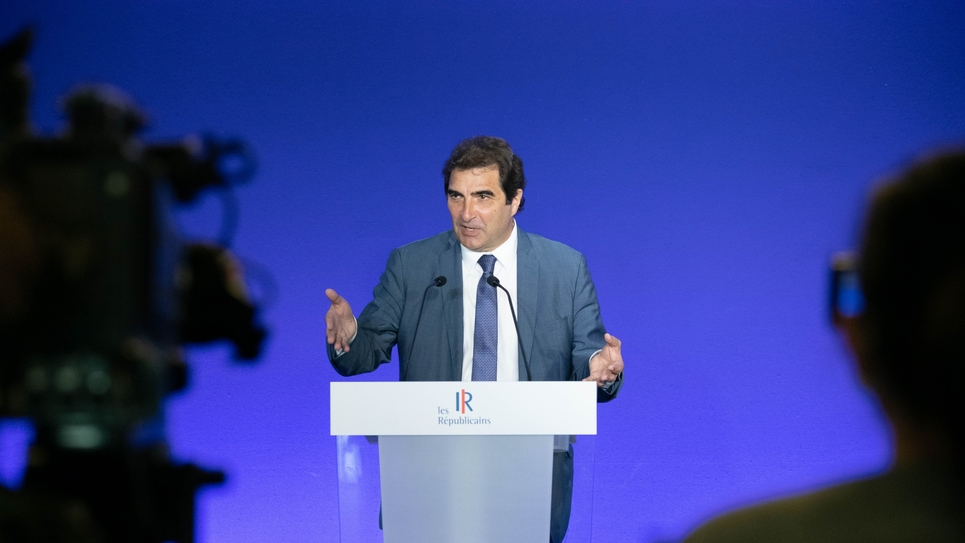 Paris: President of LR Christian Jacob during a press conference