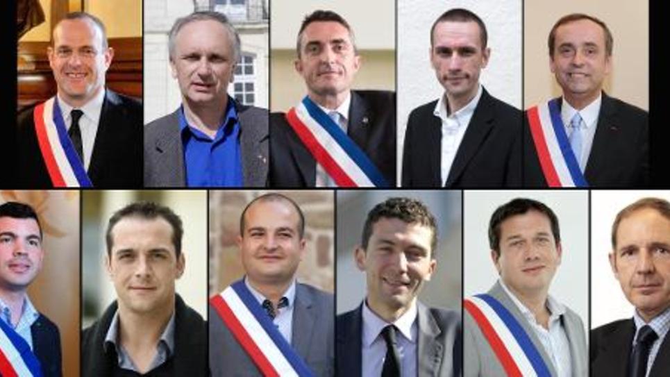 Un trombinoscope des maires FN et formations apparentées (Fréjus, Mantes-la-Ville,Beaucaire, Le Pontet, Hayange, Cogolin, Hénin-Beaumont, Villers-Cotterets, Le Luc, 7e secteur de Marseille, Béziers) le 24 avril 2014
