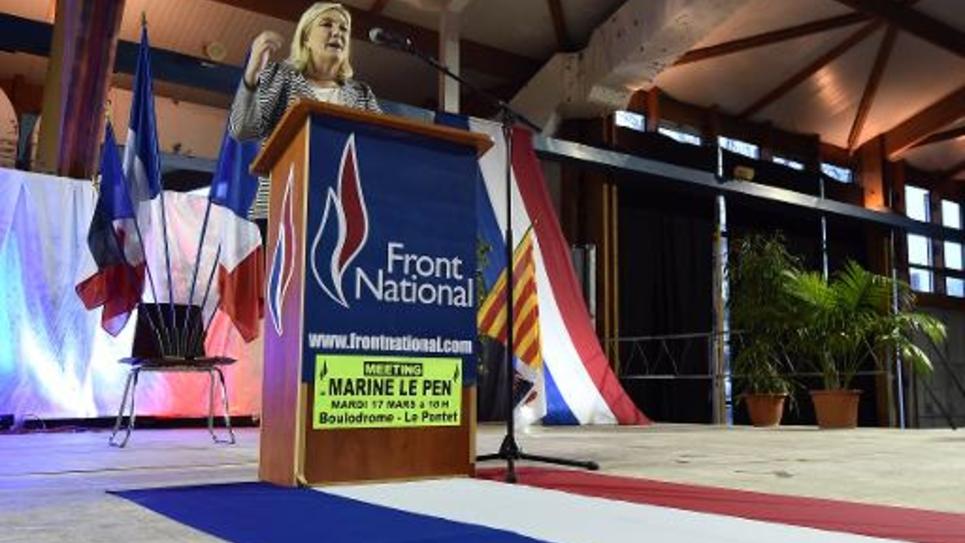 La présidente du FN Marine Le Pen, le 17 mars 2015 au Pontet(sud)