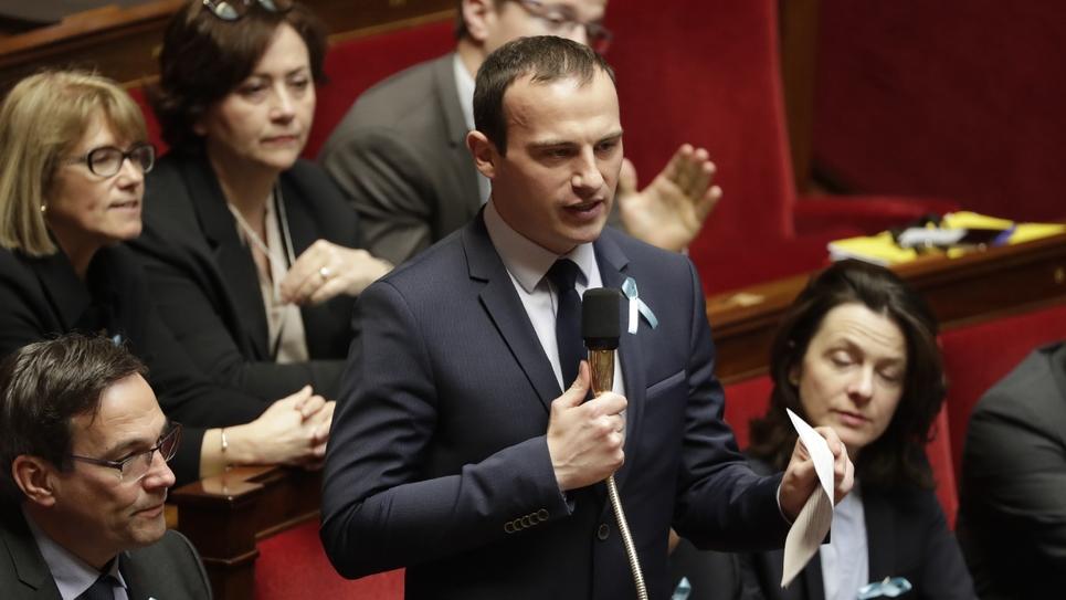 Fabien Di Filippo député LR de la 4ᵉ circonscription de la Moselle (Est), le 3 avril 2018 à l'Assemblée nationale à Paris
