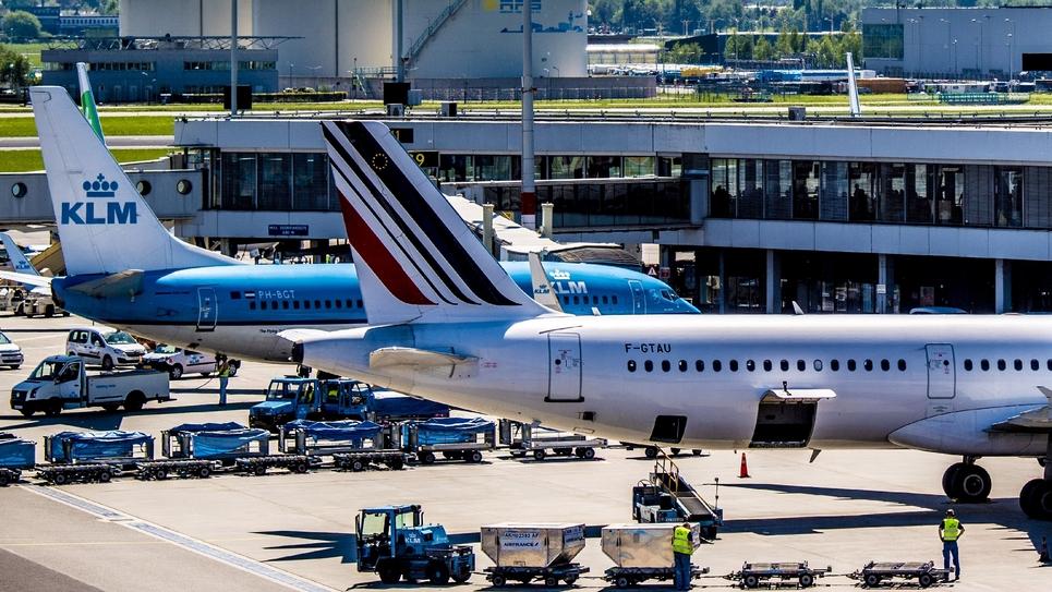 Avions d'Air France et KLM le 7 mai 2018 à l'aéroport de Schiphol à Amterdam, aux Pays-Bas
