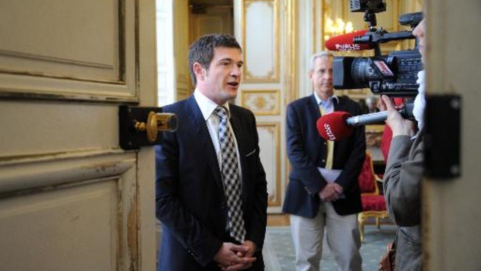 Le député-maire UMP de Châlons-en-Champagne Benoist Apparu au ministère de l'Ecologie à Paris, le 17 mai 2012