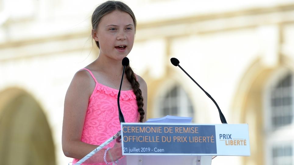 Greta Thunberg qui se rendra le 23 juillet 2019 à l'Assemblée nationale. Photo prise le 21 juillet 2019 à Caen où la jeune femme a reçu Prix Liberté 2019  en présence de vétérans du Débarquement de Normandie de 1944