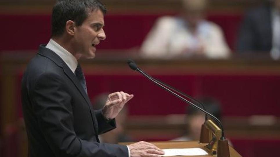 Le Premier ministre Manuel Valls s'exprime à la tribune de l'Assemblée nationale le 24 septembre 2014