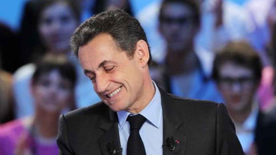 """Nicolas Sarkozy sur le plateau de l'émission """"Le grand journal"""" de Canal+ à Paris, le 3 mai 2012"""