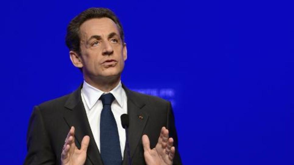 Nicolas Sarkozy en meeting à la Mutualité à Paris, le 6 mai 2012