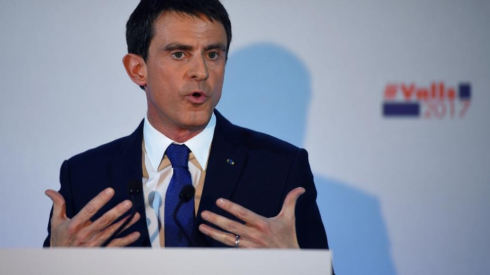 Manuel Valls au soir du premier tour de la primaire PS, le 22 janvier 2017 à Paris
