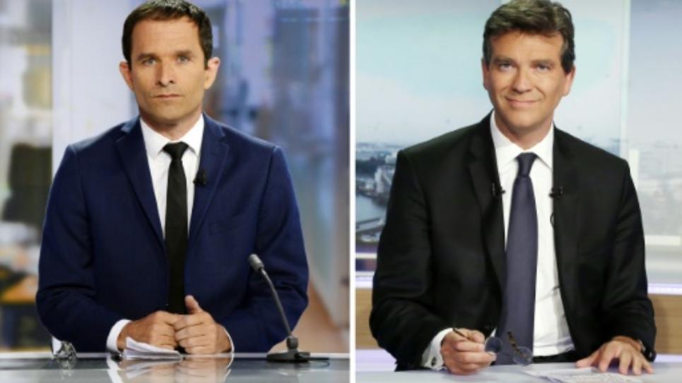 Montage de photos de Benoît Hamon (g) et Arnaud Montebourg (d), réalisé le 25 août 2016