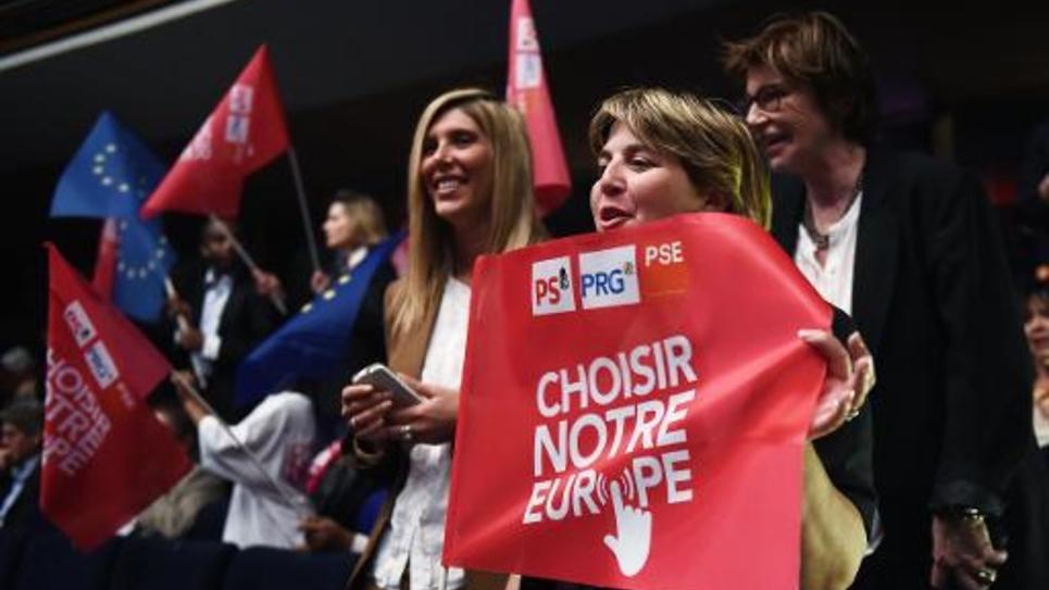 Des supporters PS lors d'un meeting électoral à Marseille le 16 mai 2014