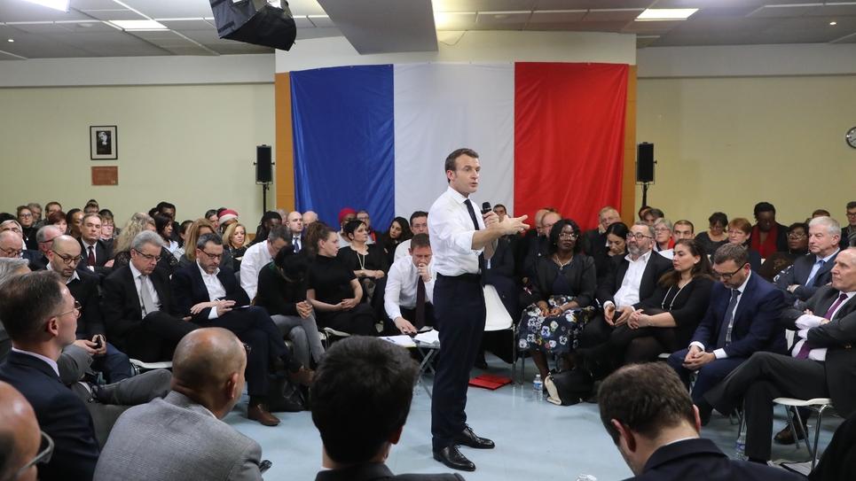 Emmanuel Macron à Evry-Courcouronnes (Essonne), le 4 février  2019