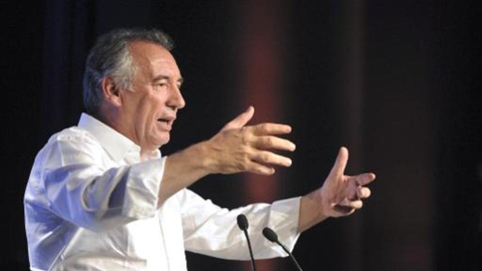 Le président du MoDem François Bayrou fait un discours à Guidel le 21 septembre 2014 pour la rentrée politique du parti