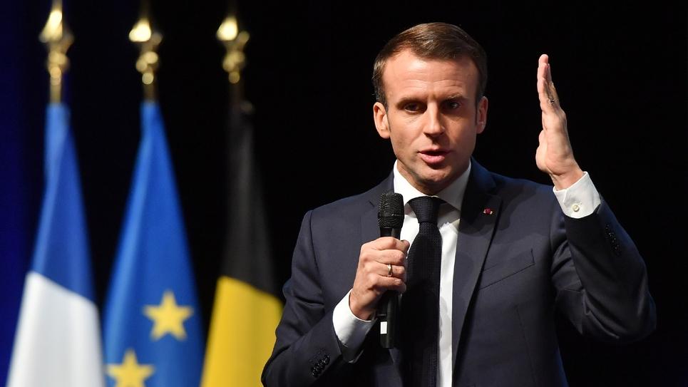 Le président Emmanuel Macron. Photo prise le 20 novembre 2018 à Louvain-la-Neuve, en Belgique.