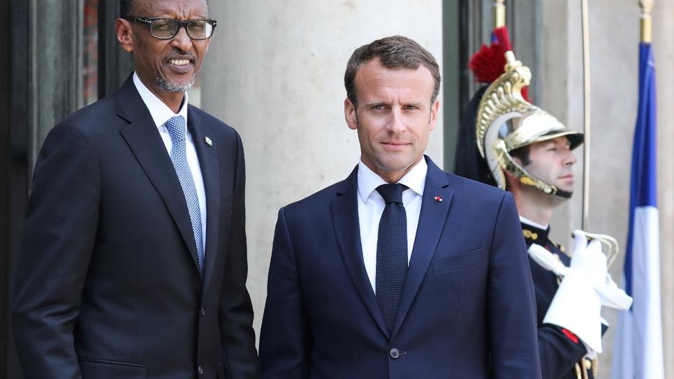 Le président français Emmanule Macron et son homologue rwandais Paul Kagame, le 23 mai 2018 à l'Elysée à Paris
