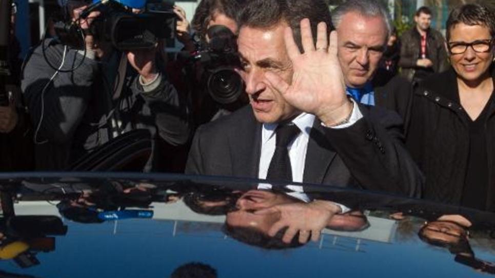 Le président de l'UMP, Nicolas Sarkozy, en visite le 12 mars 2015 à Fessenheim, dans le Haut-Rhin