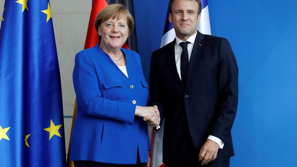 Angela Merkel et Emmanuel Macron lors d'une précédente conférence de presse commune à Berlin le 15 mai 2019