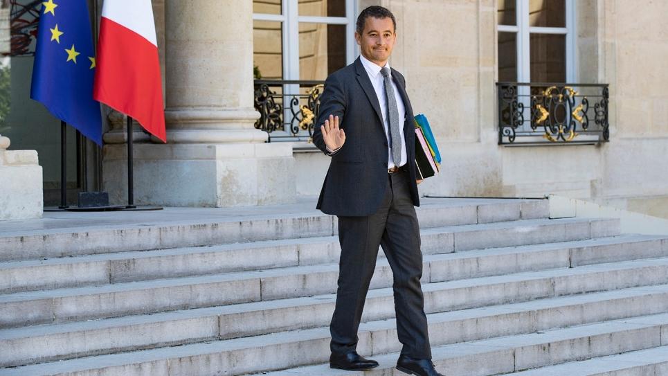 Gérald Darmanin, ministre des Comptes publics, quitte l'Elysée après le dernier conseil des ministres avant les congés d'été, le 03 août 2018