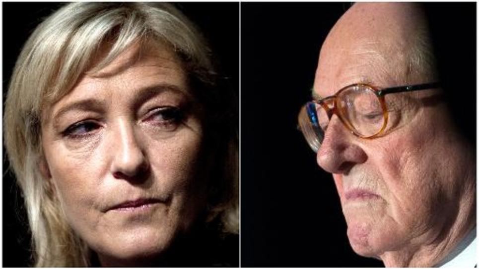 La présidente du FN Marine Le Pen (à gauche) et Jean-Marie Le Pen à Paris le 13 janvier 2012