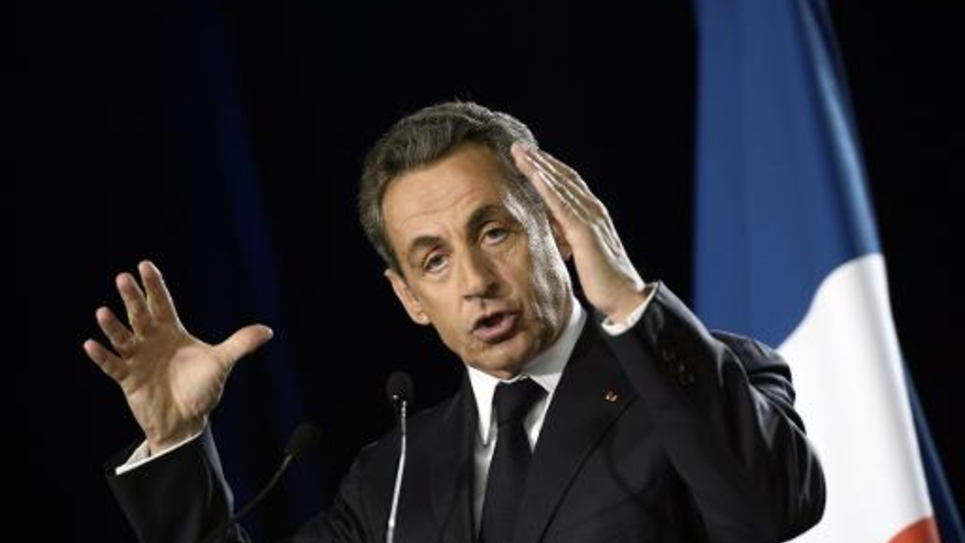 L'ancien président de la République française, Nicolas Sarkozy lors d'un discours à Paris le 7 novembre 2014