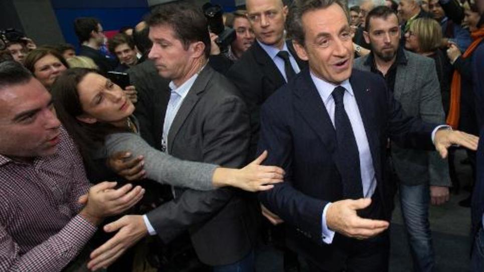Nicolas Sarkozy à son arrivée à un meeting le 25 novembre 2014 à Boulogne-Billancourt