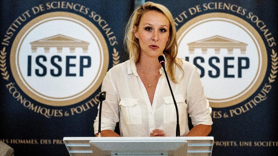 L'ex députée du FN Marion Maréchal lors de l'inauguration de son Institut de sciences sociales, économiques et politiques à Lyon