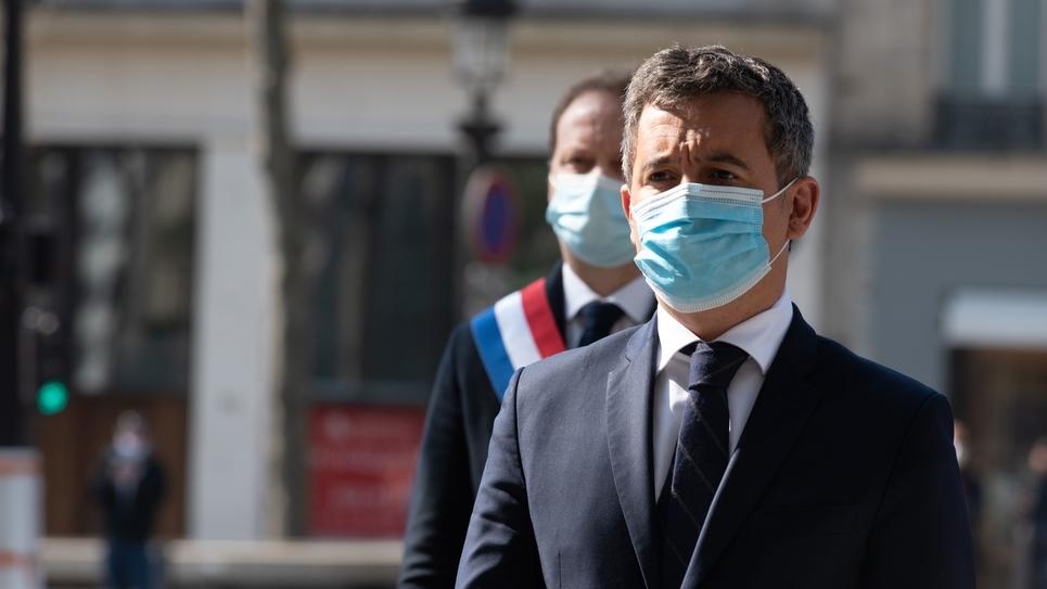 PARIS  - HOMMAGE AU CAPITAINE DE POLICE- XAVIER JUGELE -DARMANIN - HIDALGO- CHAMPS ELYSEES