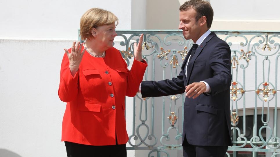Angela Merrkel et Emmanuel Macron au château de Meseberg, dans le nord-est de l'Allemagne, le 19 juin 2018