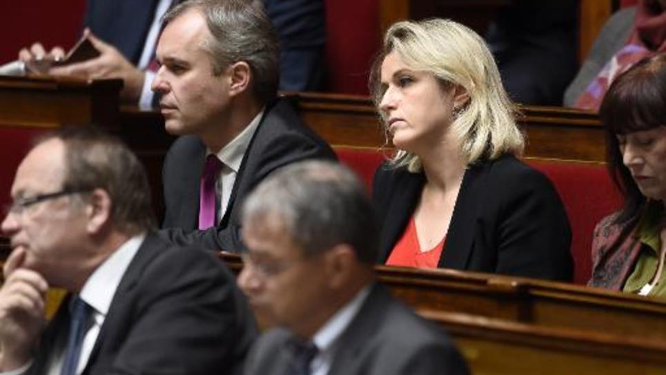 Francois de Rugy et Barbara Pompili sur les bancs de l'Assemblée nationale le 21 octobre 2014 à Paris
