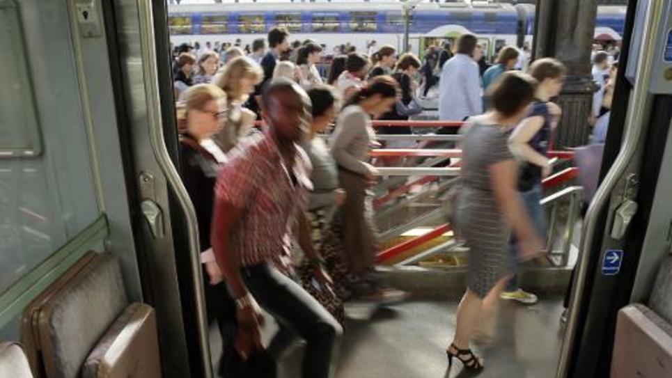 Les voyageurs le 13 juin 2014 à la gare Saint-Lazare au 3e jour de la grève des cheminots